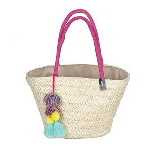 Express Straw Wicker Natural Tassel Pom Tote Bag